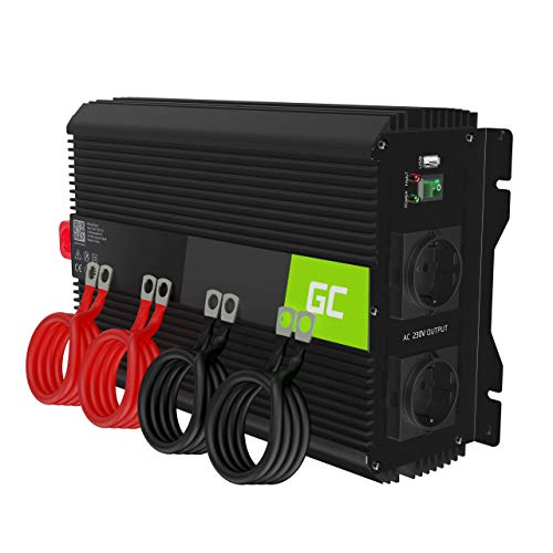 Green Cell Pro 3000W/6000W 12V 220V/230V Convertisseur de Tension Voiture Solaire Modifiée Volts Sinus Power Inverter sinusoïdale DC AC, Onduleur Transformateur
