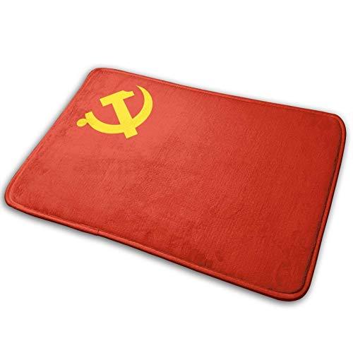 Alfombrilla universal antideslizante - tamaño 60x40 cm, alfombrilla de bienvenida para interiores y exteriores para entrada, felpudo rectangular antideslizante Bandera del Partido Comunista Chino