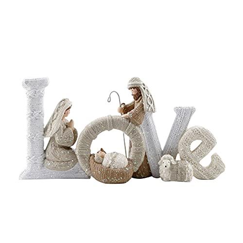 Huakaimaoyi Encantadora hermosa decoración de letras inglesas, adorno de natividad, amor de la familia, manualidades de resina para adornos de Navidad (B-02)