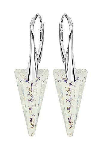 *Beforya Paris* *Ice Spike* - Farben Varianten - Tolle Exklusive Ohrringe - Silber 925 Schön Damen Ohrringe mit Kristallen von Swarovski Elements - Wunderbare Ohrringe (White Patina)
