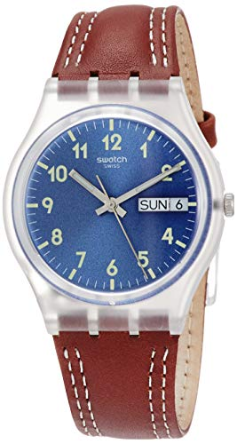 Swatch Men's Originals Windy Dune Blue Dial Leather Strap Watch