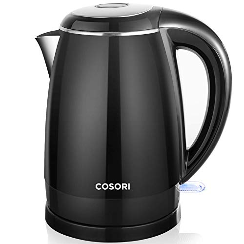 COSORI Electric Kettle, 1.8 Qt Double Wall 304 Stainless Steel BPA Free Hot Water Boiler Auto Shut-Off and Boil-Dry Protection, Cordless, ETL/CETL Approved, Black, 1.8Qt