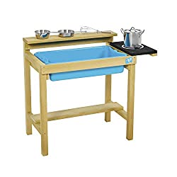 The TP Early Fun Wooden Mud Kitchen is made from FSC certified timber Complete with removable splash tub, perfect for mud mixing and a painted hob area Roomy under shelf to store pots, pans and mud pies, perfect for sand play too Comes complete with ...