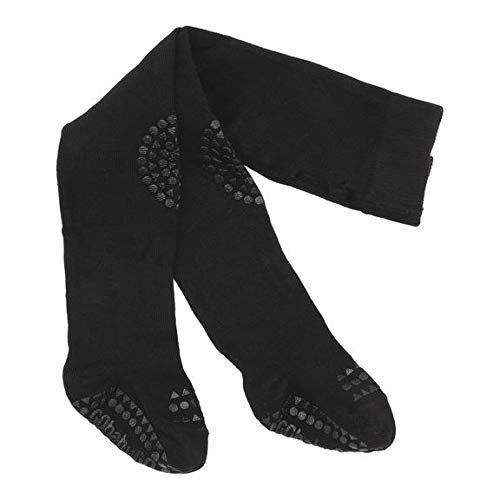 GoBabyGo Original rutschfeste Baby Krabbel Strumpfhose | ABS Non-Slip Unterstützung Für Aktive Kinder Im Krabbelalter | Baumwollstretch | 12-18M (80-86cm) | Black