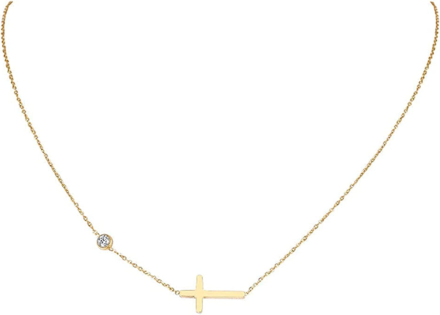 18K Gold Plated Cross/Chain Necklace for Women Cubic Zirconia Initial Choker Necklace Gold Necklaces for Women