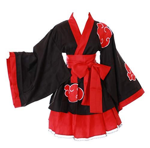 Kawaii-Story MN-78 Naruto Schwarz rot Wolken Wa-Qi Lolita Japan Kimono Set Fasching Kostüm Cosplay (L)