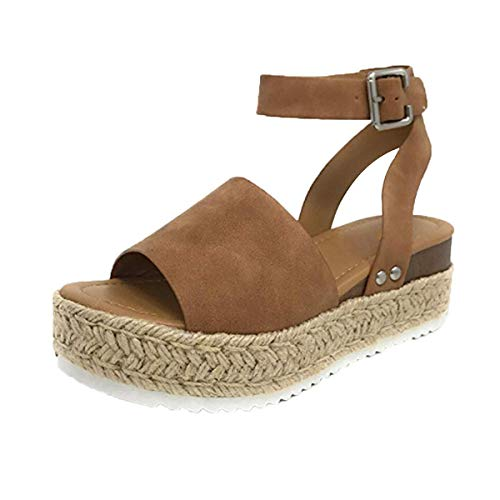 Learn More About Womens Casual Espadrilles Trim Rubber Sole Flatform Studded Wedge Buckle Ankle Strap Open Toe Sandal Summer Shoes (Brown, 7.5)