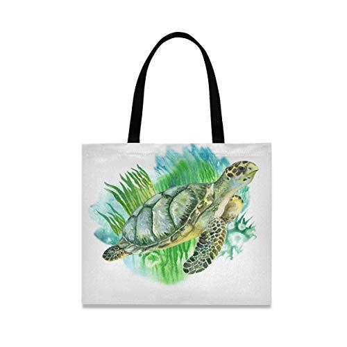 LZXO Bolsa de lona para la compra, con diseño de tortuga marina y algas naturales, reutilizable, bolsa de la compra de lona grande con bolsillo interior para mujer y niña