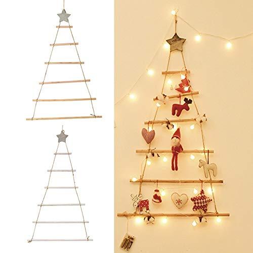 BeiLuo DIY árbol de Navidad de madera estilo nórdico artificial para niños regalos de árbol de Navidad adornos colgantes de pared decoración para 2020 Año Nuevo (blanco)