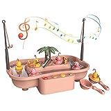 Arkmiido Juego de Pesca Juguetes de baño Ciclo de Agua eléctrico música luz Pesca Juguete para niños y niñas Mayores de Tres años.