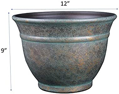 """Classic Home and Garden 10512D-377R 12"""" Alena Planter, Weathered Copper"""