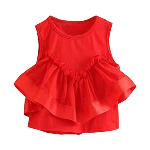 Julhold Toddler - Vestido de algodón para bebé de 1 a 6 años Rojo 2-3 Años