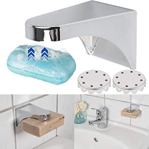 Magnet Seifenhalter, mit 2 x Plättchen und 1 x Ersatz 3M Sticker, Magnethalterung Seife, stabil und robust für jede Seife bis 150 Gramm, Magnet Seifenschale, Seifenhalter Magnet, Magnethalter Seife