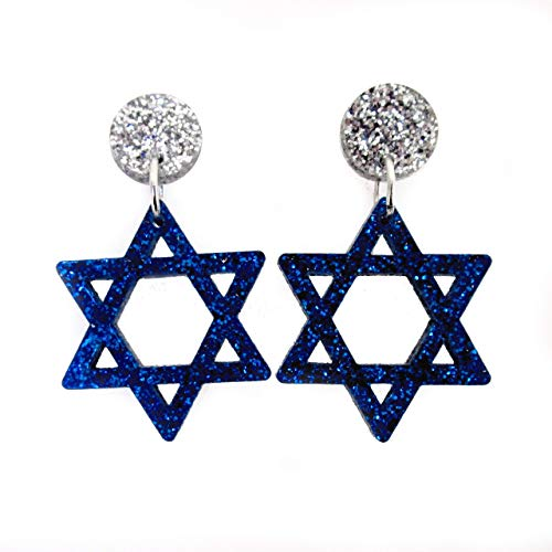 Glitter Blue Star of David Stud Earrings, Bat Mitzvah Hanukkah Festival of Lights Dangle Earrings