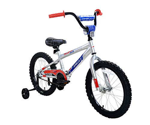 Apollo FlipSide 18 inch Kid's Bicycle, Ages 5 to 9, Height 42 - 50 inches, Silver/Blue