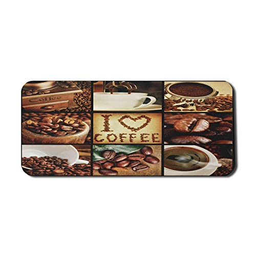 Brown Computer Mouse Pad, ich liebe Kaffee Thema Collage geröstete Bohnen Brühmaschinen und Tassen Aromatisches Getränk, Rechteck rutschfeste Gummi Mousepad X-Large Brown White