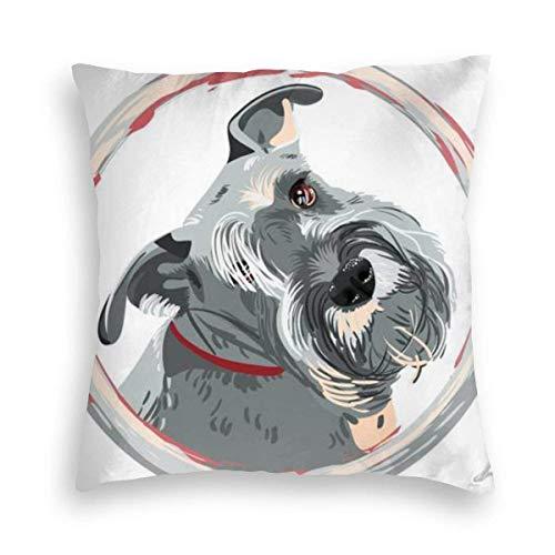 Liquor S Velvet Pillowcase, Skin-Friendly,Double-Sided Printing,Dog Miniature Schnauzer Color Hidden Zip Pillowcase Pattern