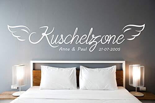 tjapalo® Wandtattoo Kuschelzone mit Namen Datum Wandtattoo Liebe Sprüche Wandtattoo Schlafzimmer Namen Wandsticker Liebe Name, Farbe: Weiß, Größe: B200xH40cm