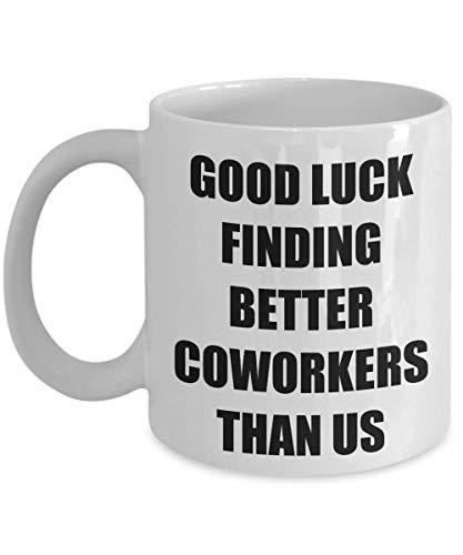 Tazas divertidas de buena suerte para compañeros de trabajo, regalo de despedida para el empleado que se va, regalo de despedida para los compañeros de trabajo, compañero de trabajo, taza de b