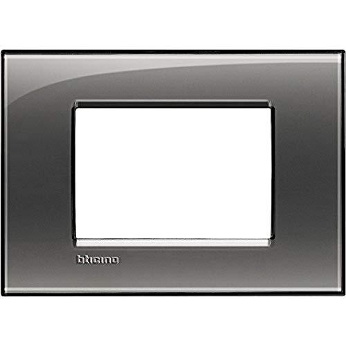 BTicino Livinglight Placca, 3 Moduli, Forma Rettangolare, Grigio (Fumo di Londra)