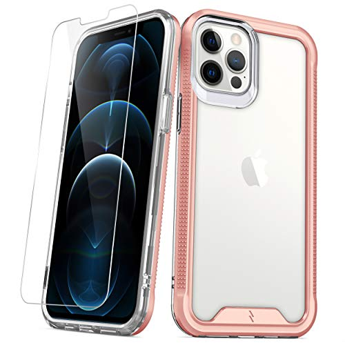 ZIZO ION Series for iPhone 12 Pro Max Case - Military Grade Drop Tested with Tempered Glass Screen Protector - Rose Gold