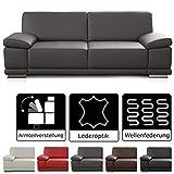 CAVADORE 3 Sitzer Sofa Corianne in Kunstleder / Leder Couch in hochwertigem Kunstleder und modernem Design / Mit Armteilfunktion / 217 x 80 x 99 / Kunstleder grau