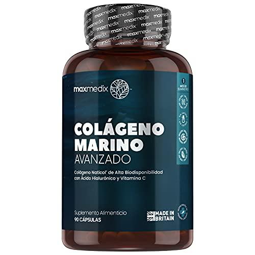 Colágeno Marino, Ácido Hialurónico, Coenzima Q10, Vitamina C y Zinc Dosis Alta 1200mg | Suplemento Para Cabello, Piel, Huesos, Músculos y Articulaciones, Suplemento Antiarrugas, 90 Cápsulas