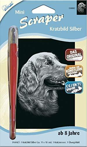 MAMMUT 130002 - Kratzbild, Motiv Hund, silber, glänzend, mini, Komplettset mit Kratzmesser und Übungsblatt, Scraper, Scratch, Kritzel, Kratzset für Kinder ab 8 Jahre