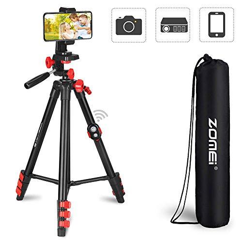 AOLVO Treppiede Fotocamera,Treppiede da Viaggio in Alluminio Leggero, Regolabile Bastone Selfie per Telefono Tripode Supporto per standcon Testa a Sfera Rotante a 360 ° per videocamera DSLR