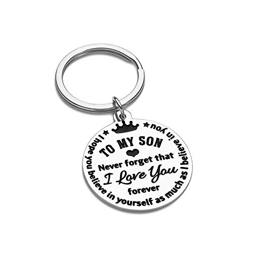I Love You to My Son Gifts Keychain from Mom Dad Christmas Inspirational Gift Birthday for Stepson Graduation Wedding Fathers Day Valentine Day Back to School 16 Teen Boys Him Men Stocking Stuffers