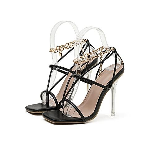 XFBH Zapatos de verano con punta cuadrada para mujer, tacones altos, cadena...