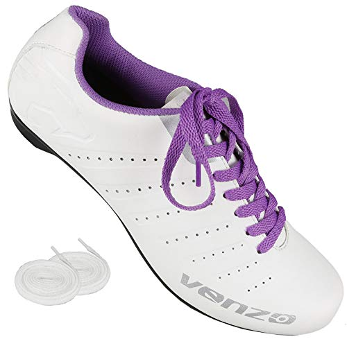 Venzo Bicycle Women's Ladies Road Cycling Riding Shoes - Lace - Compatible with Peloton Shimano SPD & Look ARC Delta - Perfect for Indoor Spin Road Racing Bikes White 43