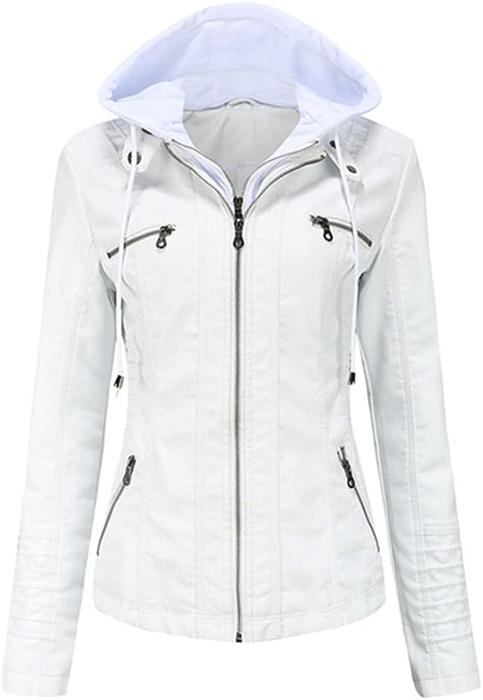 Faux Leather Hooded Outerwear Zipper Coat Slim Biker Womens