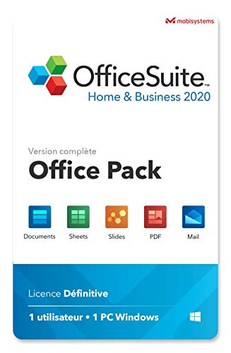 OfficeSuite Home & Business 2020 - licence complète - Word®, Excel® & PowerPoint® et PDF pour PC Windows 10, 8.1, 8, 7 - 1 PC / 1 utilisateur / à vie