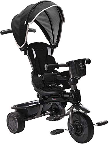 ChromeWheels 4-in-1 Stroller Tricycle for Kids, Adjustable Push Trike for Toddlers with Removable Canopy for 9 Months - 5 Years Old, Black