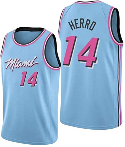 Zxwzzz NBA No.14 Heat De Miami De Los Hombres Camiseta De Baloncesto, De Doble Capa Transpirable Atleta Traje De Entrenamiento Camiseta De Punto (Color : Blue, Size : Medium)