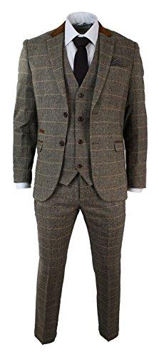 Marc Darcy Herrenanzug Vintage Fischgräte Braun Tweed Optik 3 Teilig Eng Tailliert Hochzeit