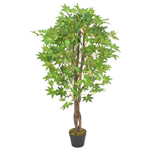 vidaXL Planta Artificial Decoración Árbol Arce Maceta Flores Decorativas Realistas Exterior Interior Oficina Hojas Plástico 120 cm Alta Verde