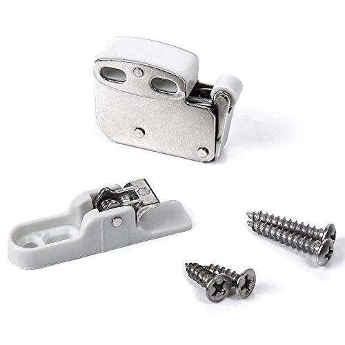 10 Stück SO-TECH® Federschnäpper Türschnapper Mini Latch inkl. Halteplatte - verbesserte Ausführung - Stahl verzinkt
