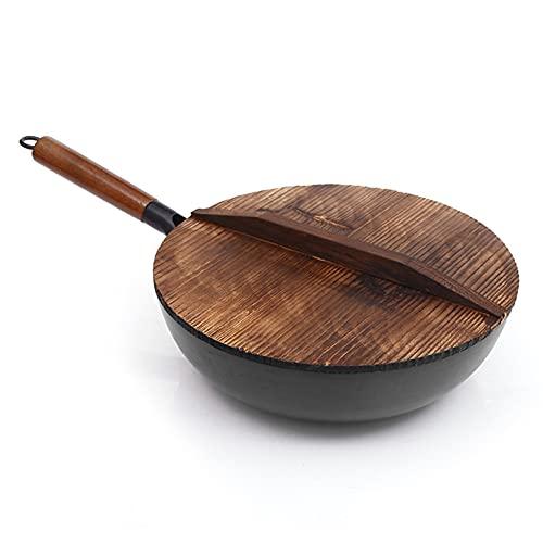 Wok Pan de Wok de Acero Al Carbono Pan con Mango de Madera Stir Fry Pan con Tapa Durable Antiadherente Sartén Utensilios de Cocina