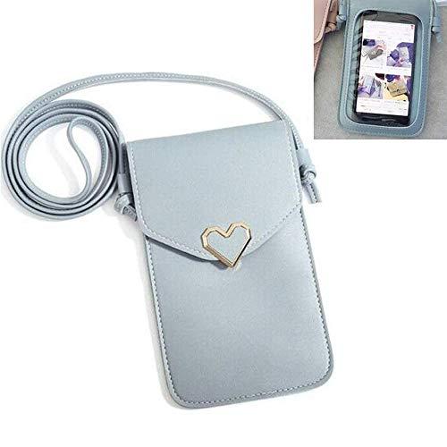 Cartera de piel para teléfono móvil, con correa de hombro, con correa ajustable y ranuras para tarjetas de crédito Azul azul 14*19.5*3