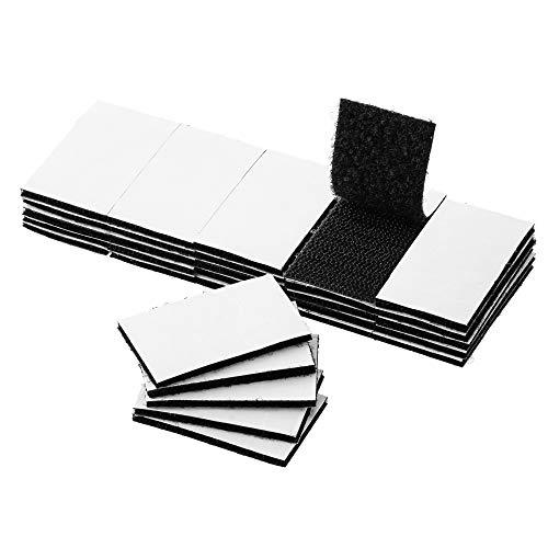 BRAVESHINE 30 Stück Industrie Klettband selbstklebend extra stark,kleben statt Bohren Starke Klettverschluss, Doppelseitig Klebend Harmlos für Wände,Boden,Tür,Gläser,Metalle (30x50mm,Schwarz)