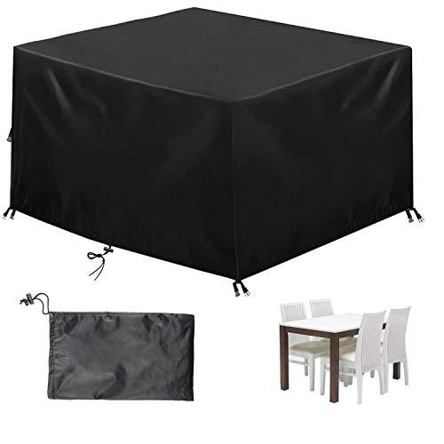 EXLECO Cubierta Muebles de Jardín 135 * 135 * 75cm Negro Funda para Muebles de...