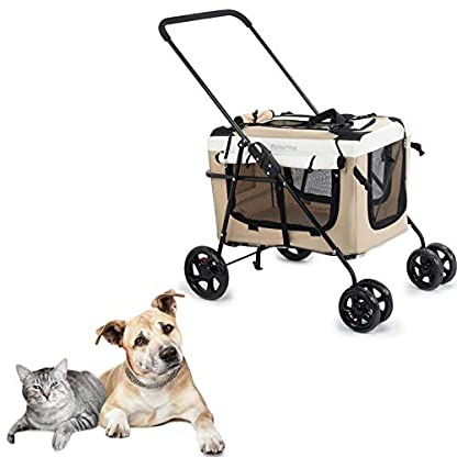 Display4top Pet Travel Stroller Dog Cat Pushchair Pram Jogger Buggy w/Locking Zippers Plush Nap Pillow 2X Interior Room Airy Windows Sunroof Reduces Anxiety 3