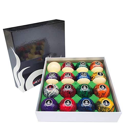 Ztong Bolas de Billar Conjunto 5.72cm Textura de mármol de mármol Black-8-Ball Pool Práctica de Nueve Bolas Incluyendo 16pc