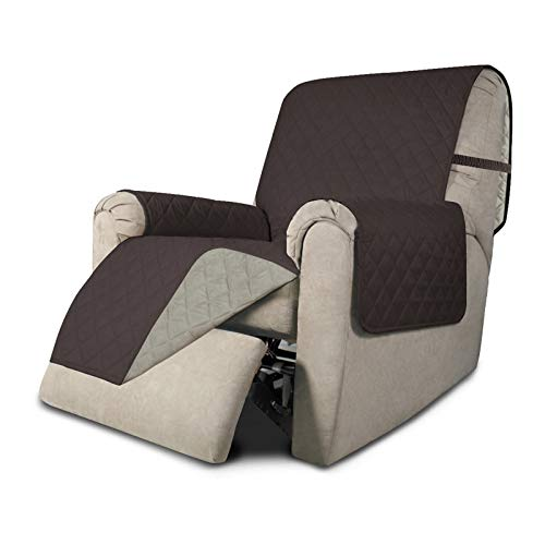 Easy-Going Recliner Sofa Slipcover Reversible Sofa Cover Furniture Protector Water Resistant Couch Cover with Elastic Straps Pets Kids Children Dog Cat (Recliner, Chocolate/Beige)