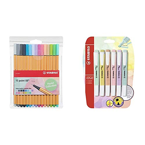 Textmarker - STABILO swing cool Pastel Edition - 6er Pack - 6 Farben & Fineliner - STABILO point 88 - 15er Pack - 15 Pastellfarben