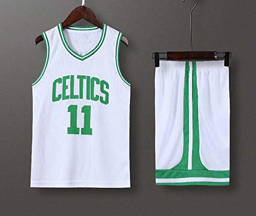 LYY Jersey Men's, NBA Boston Celtics # 11 Kyrie Irving - Niño Adulto Classic Baloncesto Sportswear Suelte Comfort Chalecta Tops Camisetas Sin Mangas Conjunto De Uniformes,Blanco,XS(Child) 105~115CM