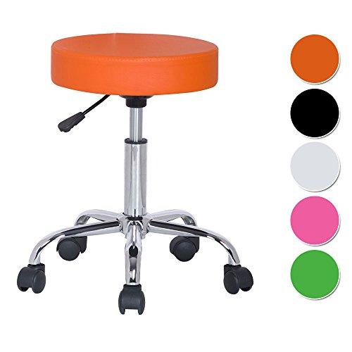 SixBros. Sitzhocker höhenverstellbar, Drehhocker mit Rollen, Hocker aus Kunstleder, verstellbar,orange