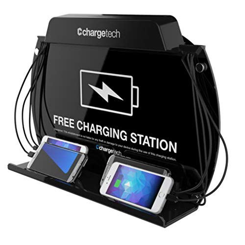 ChargeTech Wall Mounted Cell Phone Charging Station Dock Hub | High Speed Cables for All Devices | Fully Customizable Cables & Background Art | Model: WM9